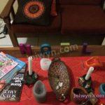 Yule decorations on shelf